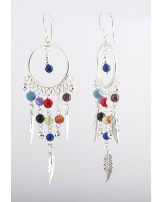 Dream Catcher Earrings TE064-1, Sterling Silver