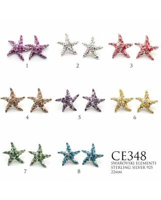 Crystal Earrings / CE348, STAR FISH 22mm