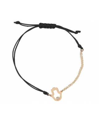 Small hand 18K Gold half-chain half-string bracelet / 35607