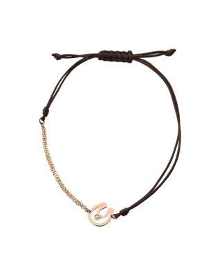 18K Gold half-chain half-string bracelet / 35608