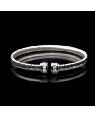 Silver with CZ Rhodium plated Bracelet