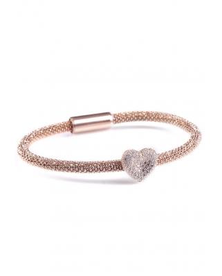 Rose Gold Vermeil Heart Shape Sterling Silver Magnetic clip Bracelet
