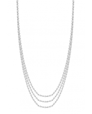 Rice Bead Silver Necklace 42cm