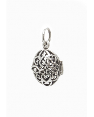 Filigree Locket Aromatherapy Essential Oil Diffuser Sterling Silver Pendant 12 x 15mm