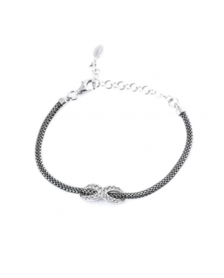 Silver with CZ Ruthenium Vermeil Bracelet