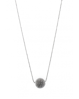 Round Bead Sterling Silver Necklace