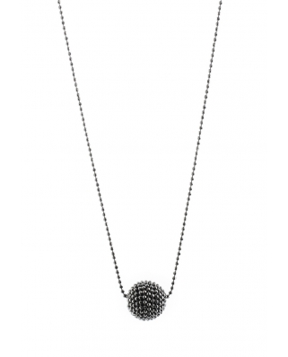 Black Plated Round Bead Sterling Silver Necklace