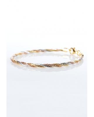 Tri color Vermeil bracelet twist 3 lines / CYB009SRG