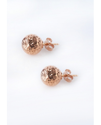 Diamond cut Rose Gold Vermeil Earrings 10mm