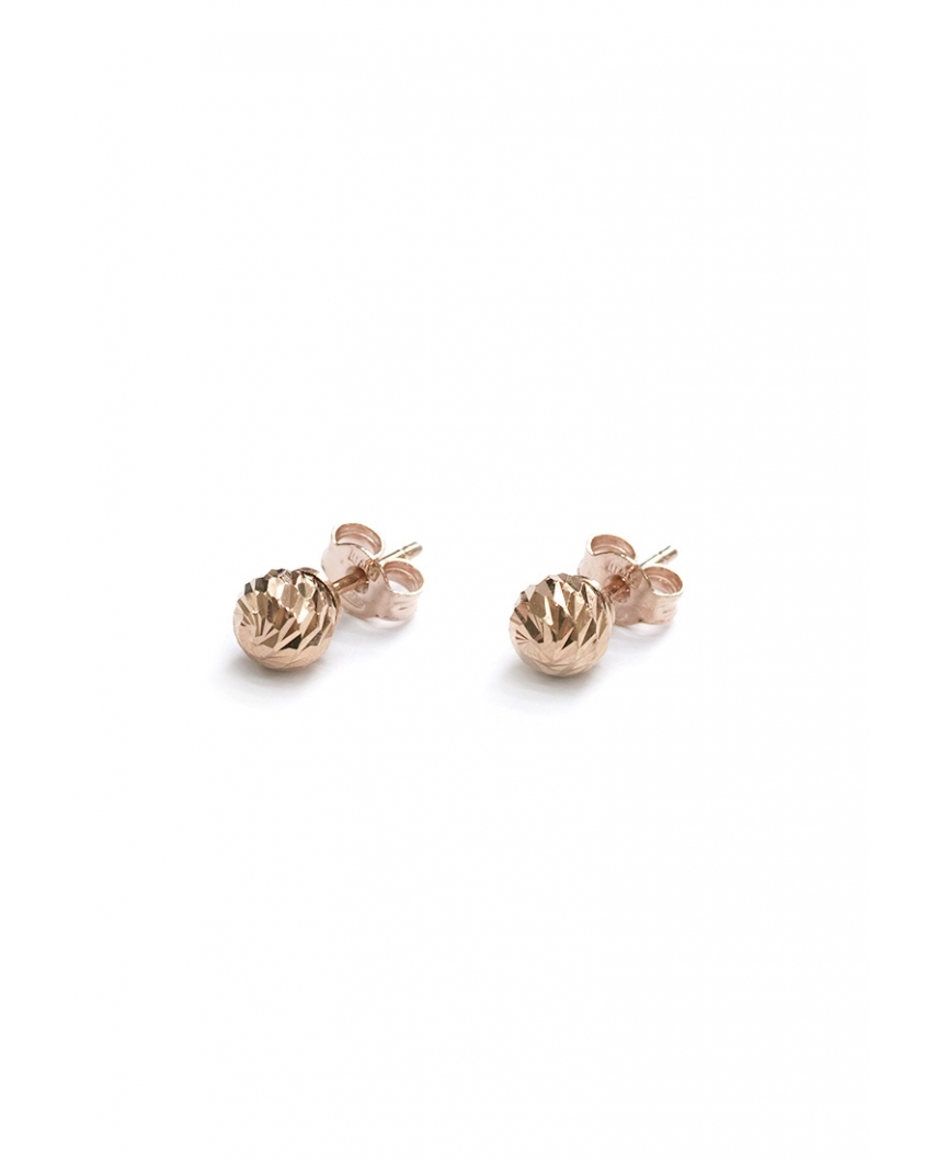 Diamond cut Rose Gold Vermeil Earrings 6mm