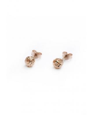 Diamond cut Rose Gold Vermeil Earrings 6mm