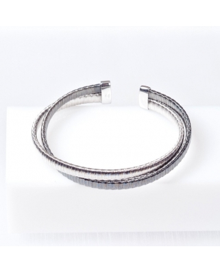 Black Plated Sterling Silver Bangle