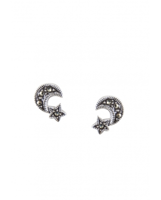 Sterling Silver Earring Star and Moon