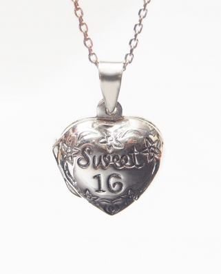 Sweet 16 Locket Heart Sterling Silver Pendant 10 x 15mm