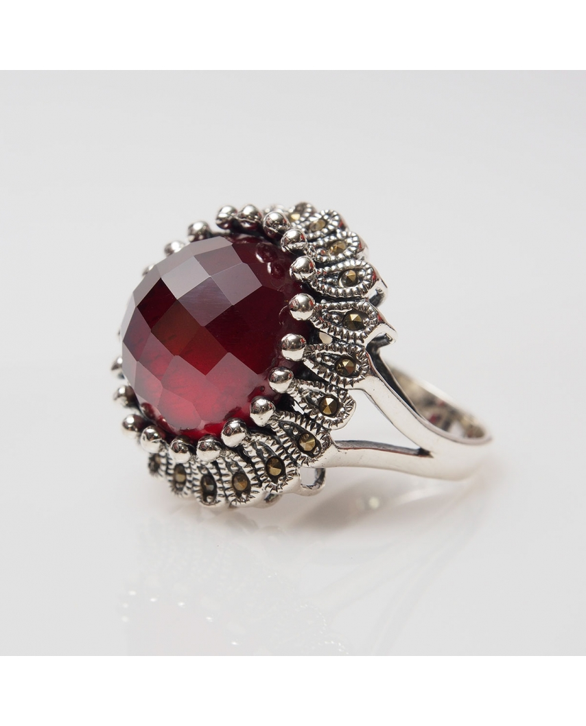 Silver Ring with Marcasite Red CZ