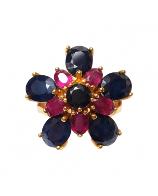Gold Vermeil Ring with Sapphire and India Ruby