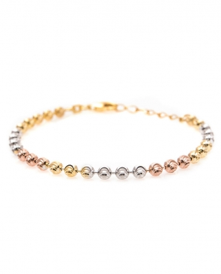 Tri color Vermeil bracelet Moon Cut 4mm / CYB019SRG