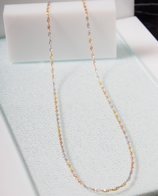 Tri color DNA Silver necklace ( Vermeil )