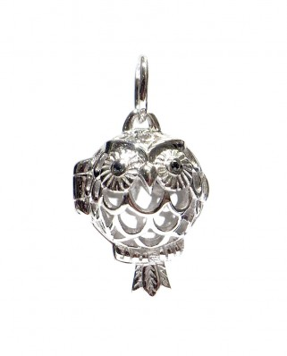 Aromatherapy Essential Oil Diffuser Sterling Silver Pendant Owl