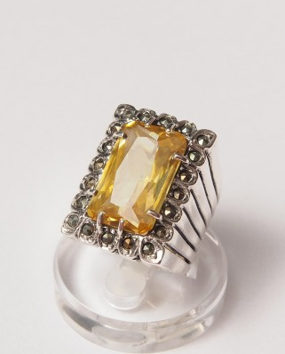 925 Silver Ring / R-111 YELLOW