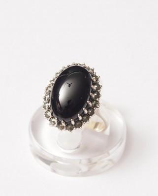 925 Silver Ring / R-143 BLACK