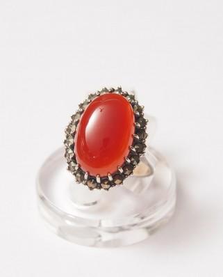 925 Silver Ring / R-143 ORANGE