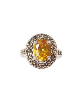 925 Silver Ring / R-229 YELLOW