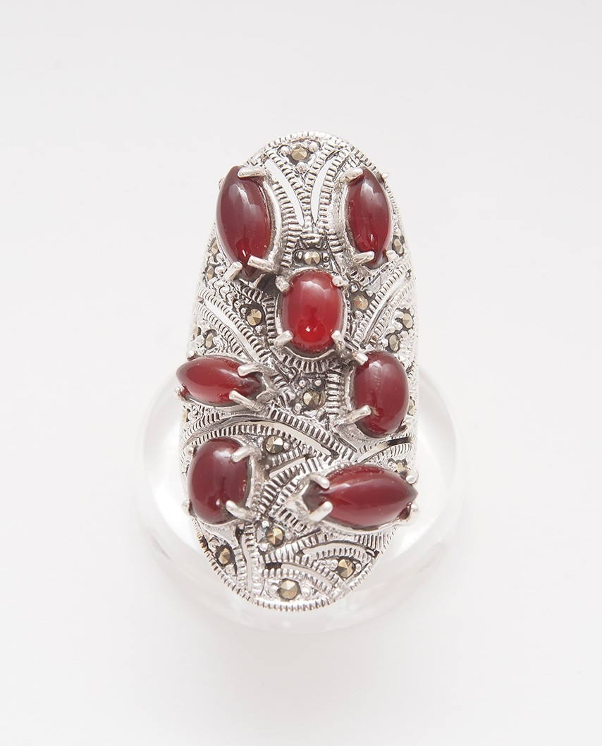 925 Silver Ring / R-404 RED