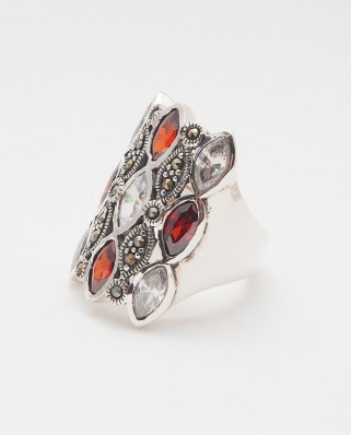 925 Silver Ring / R-428 WHITE/RED