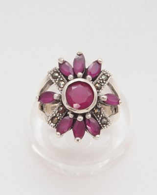 925 Silver Ring / R-394 RED